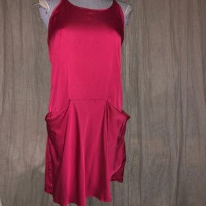 theory Christmas red silk satin slip dress 6